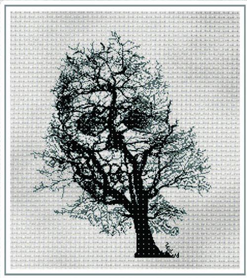 skull in tree halloween cross stitch chart sew it all